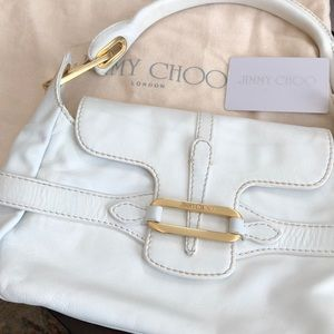 Jimmy choo London white purse gold metal